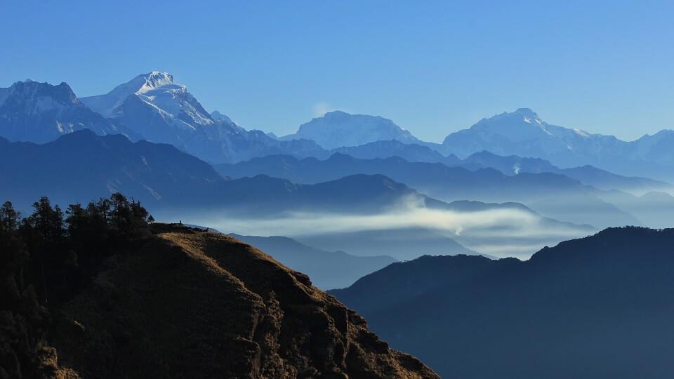 Annapurna Community trek – zicht op de Himalayas vanop Mohare Hill