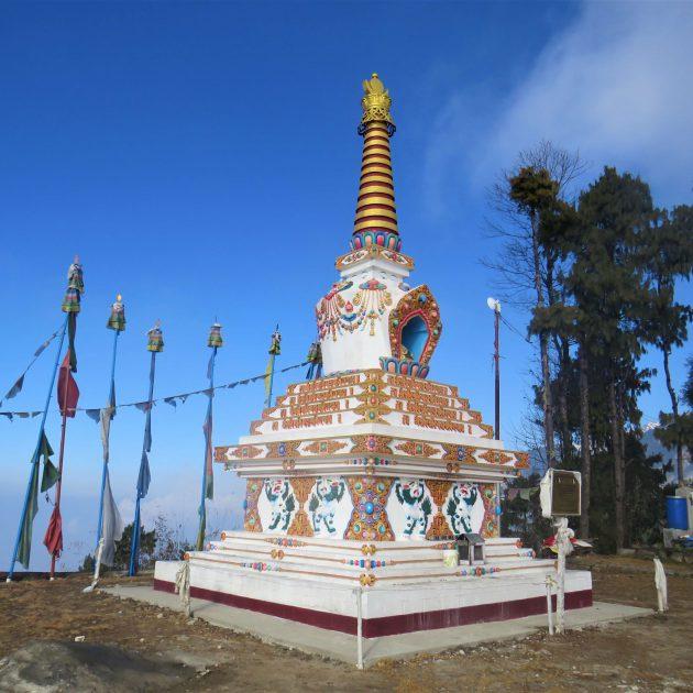 Helambu trek - a white Buddhist stupa