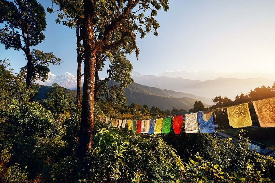 Mardi Himal trekking – wapperende gebedsvlagjes land de Mardi Himal trails