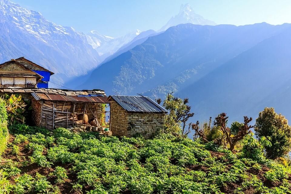 Poon Hill & Muldai Peak trekking – typisch Nepalese woning en zicht op de Himalayas met de Macchapuchare