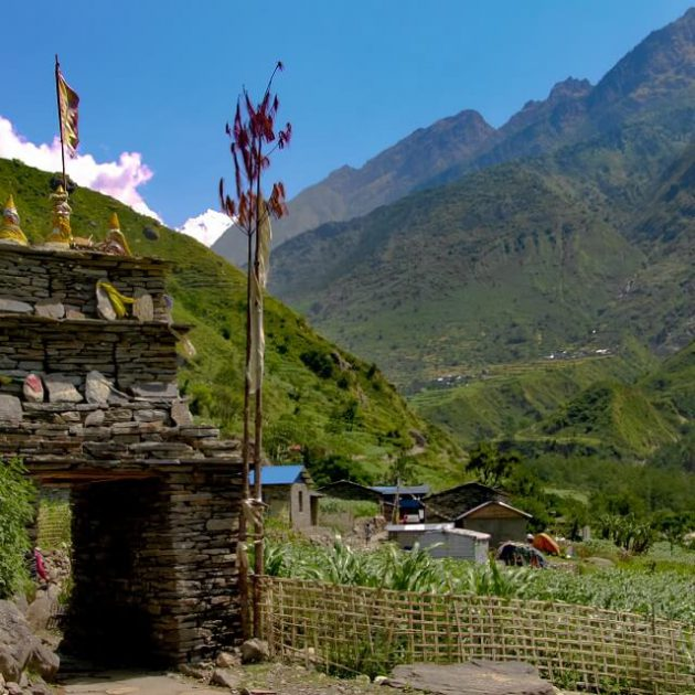 Manaslu with Tsum valley trek - Buddhist chörtens in the Kathmandu valley