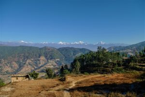 View on the Himalayas from the Kathmandu valley